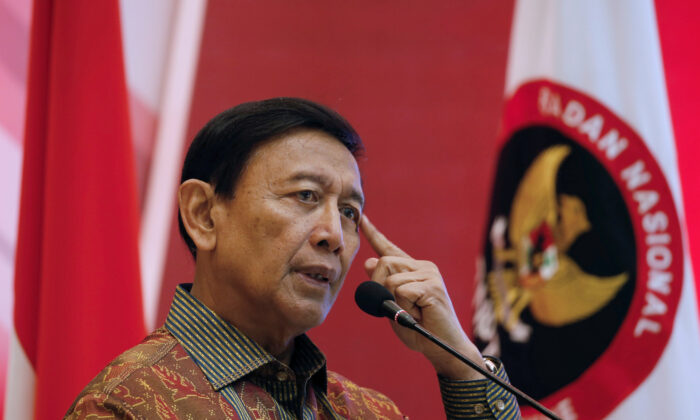 Indonesia Chief Security Minister Wiranto delivers a speech during a meeting between former militants and victims in Jakarta, Indonesia, on Feb. 28, 2018. (Beawiharta/File Photo/Reuters)