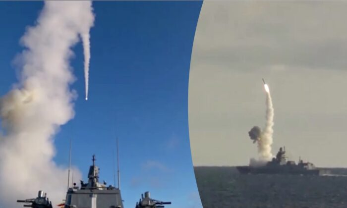 "Russian naval vessels launch test missiles during ""Thunder 2019,"" a massive nuclear war games drill that includes parts of the Arctic, on Oct. 17, 2019. (Russian Ministry of Defense via Reuters)"