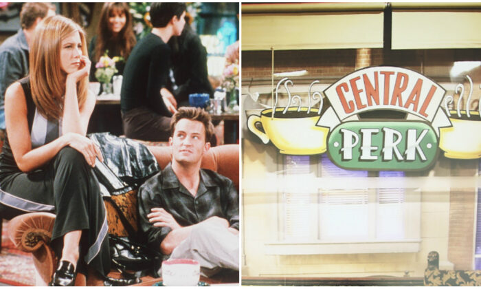 (L) 1998 Jennifer Aniston, Matthew Perry, and Courteney Cox in Year 4 of Friends. (Getty Images)  (R) Central Perk Pop-Up Cafe at Hyde Park on Oct. 9, 2015 in Sydney, Australia. (Ryan Pierse/Getty Images)