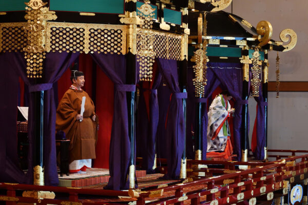 Japan's Emperor Naruhito and Empress Masako attends the enthronement ceremony where he officially proclaims his ascension to the Chrysanthemum Throne at the Imperial Palace in Tokyo