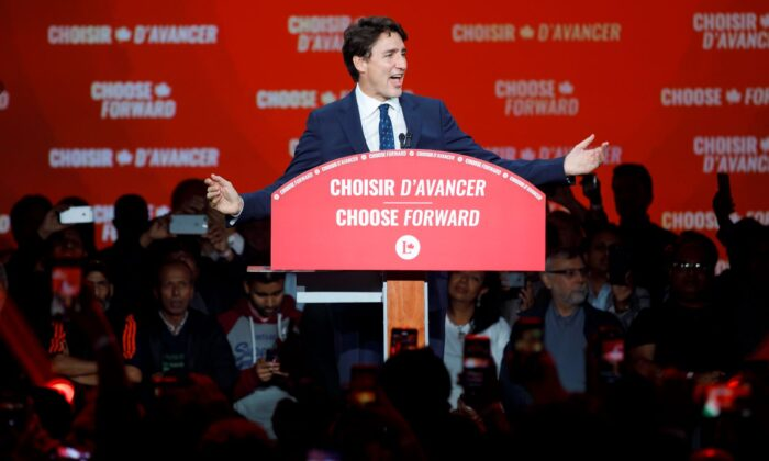 Liberal Leader and Canadian Prime Minister Justin Trudeau delivers his victory speech at his election night headquarters on Oct. 21, 2019 in Montrea. (Cole Burston/Getty Images)