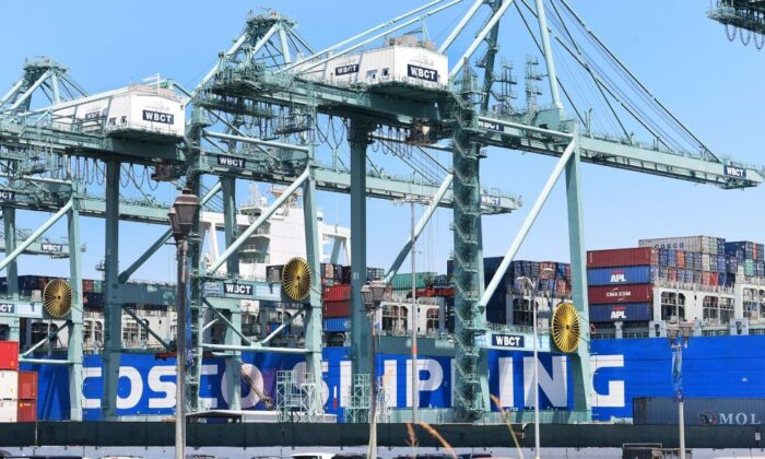 Shipping containers are seen on a Cosco Shipping vessel at the Port of Long Beach in California, on Aug. 23, 2019. (Frederic J. Brown/AFP/Getty Images)