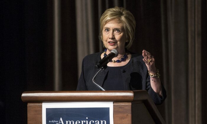 Former Secretary of State Hillary Clinton delivers a keynote speech during the American Federation of Teachers Shanker Institute Defense of Democracy Forum at George Washington University in Washington on Sept. 17, 2019. (Zach Gibson/Getty Images)