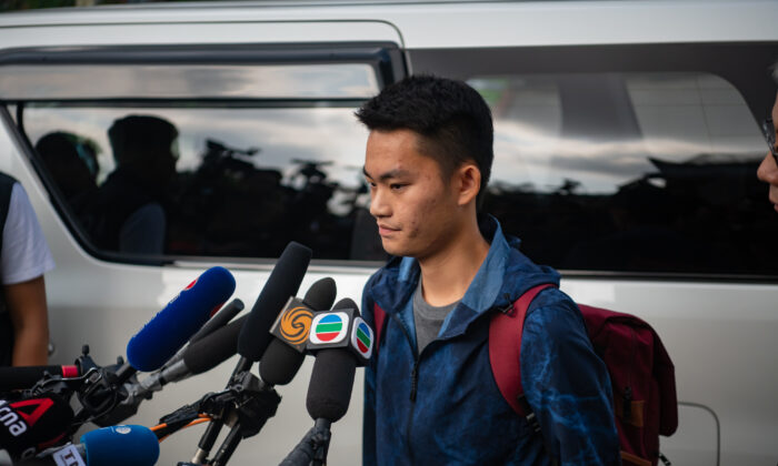 Chan Tong-kai talks to the media as he is released from prison in Hong Kong on October 23, 2019. (Billy H.C. Kwok/Getty Images)