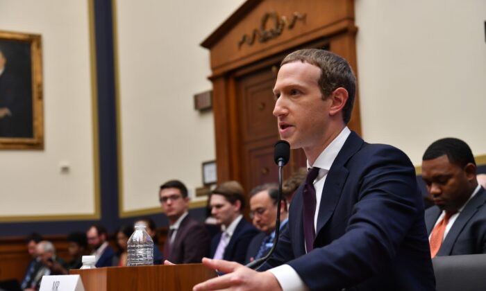 "Facebook Chairman and CEO Mark Zuckerberg testifies before the House Financial Services Committee"" in the Rayburn House Office Building in Washington on Oct. 23, 2019. (NICHOLAS KAMM/AFP via Getty Images)"