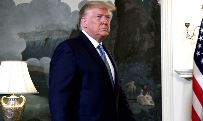 President Donald Trump arrives to speak about Syria in the Diplomatic Reception Room at the White House on Oct. 23, 2019. (Saul LoebAFP via Getty Images)