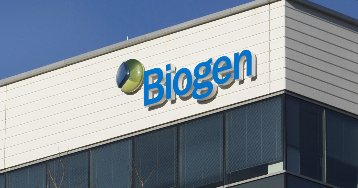 A sign for biotechnology company, Biogen, Inc.