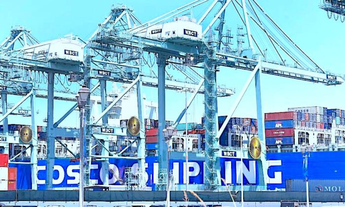 Shipping containers are seen on a Cosco Shipping vessel at the Port of Long Beach in Long Beach, Calif., on Aug. 23, 2019. (Frederic J. Brown/AFP/Getty Images)