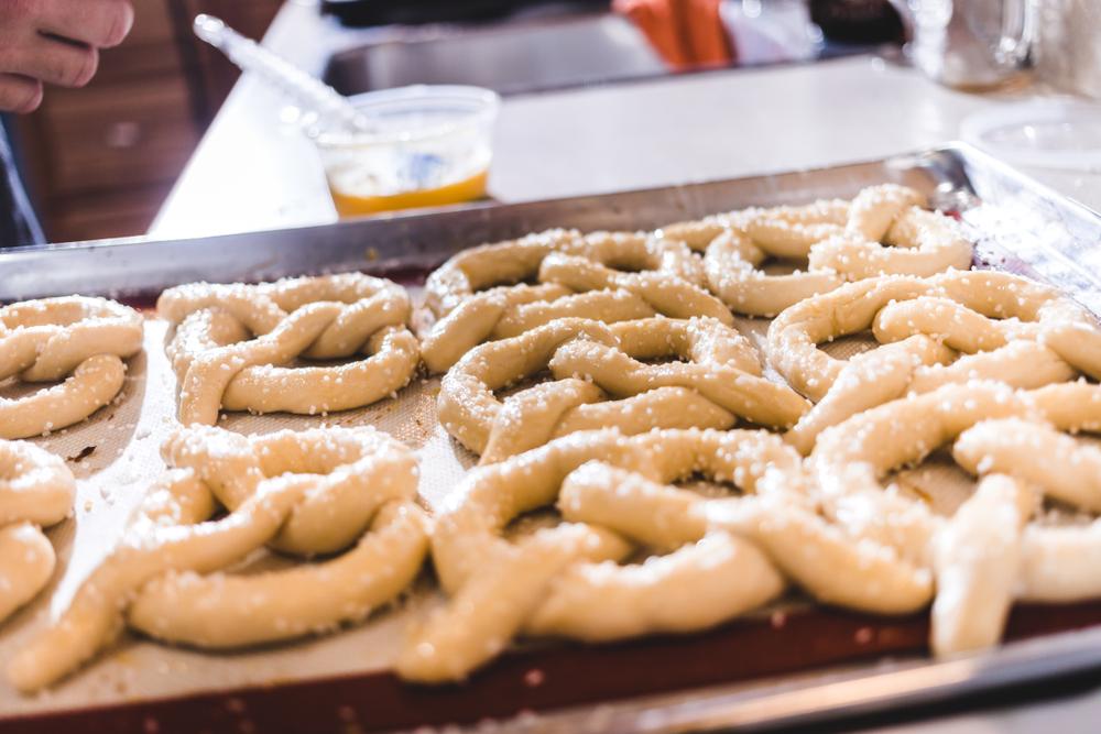 Salting pretzel