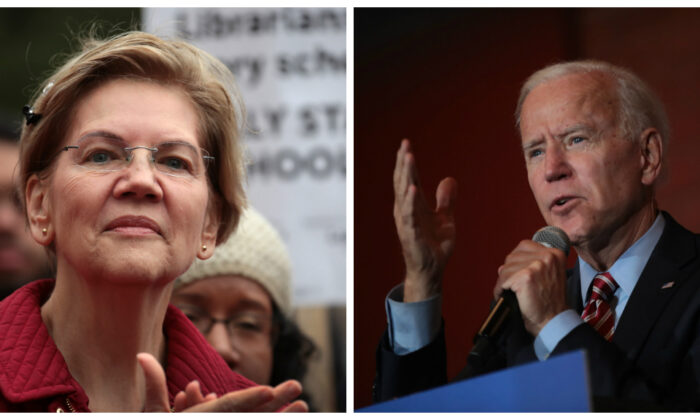 (L)-Democratic presidential candidate Sen. Elizabeth Warren (D-Mass.) visits with striking Chicago teachers at Oscar DePriest Elementary School in Chicago, Illinois on Oct. 22, 2019. (Photo by Scott Olson/Getty Images) (R)-Democratic Presidential candidate former Vice President Joe Biden speaks to guests during a town hall campaign stop at the Pearl City Station in Muscatine, Iowa on Oct. 23, 2019. (Photo by Scott Olson/Getty Images)