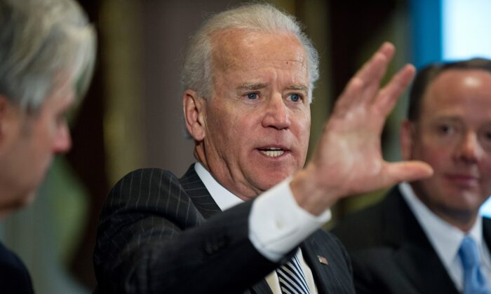 Vice President Joe Biden speaks during a meeting with video game industry executives in Washington on Jan. 11, 2013. (Nicholas Kamm/AFP/Getty Images)