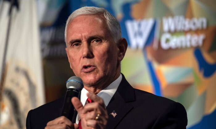 US Vice President Mike Pence speaks on the future of the US relationship with China at the  Wilson Center's inaugural Frederic V. Malek Public Service Leadership lecture, in Washington, on Oct. 24, 2019. (Nicholas Kamm/AFP via Getty Images)