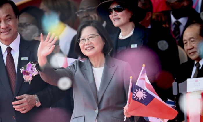 Taiwan President Tsai Ing-Wen waves during National Day celebrations in front of the Presidential Palace in Taipei on Oct. 10, 2019. (Sam Yeh/AFP via Getty Images)