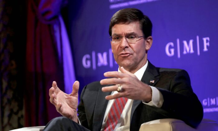 U.S. Secretary for Defense Mark Esper gestures as he speaks during a panel discussion at the Concert Noble in Brussels, on Oct. 24, 2019. (FRANCISCO SECO/POOL/AFP via Getty Images)