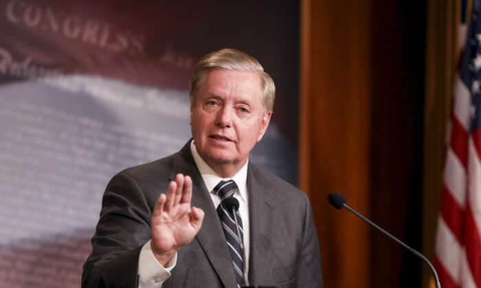 Sen. Lindsey Graham (R-S.C.) holds a press conference about the House impeachment inquiry process, on Capitol Hill in Washington on Oct. 24, 2019. (Charlotte Cuthbertson/The Epoch Times)
