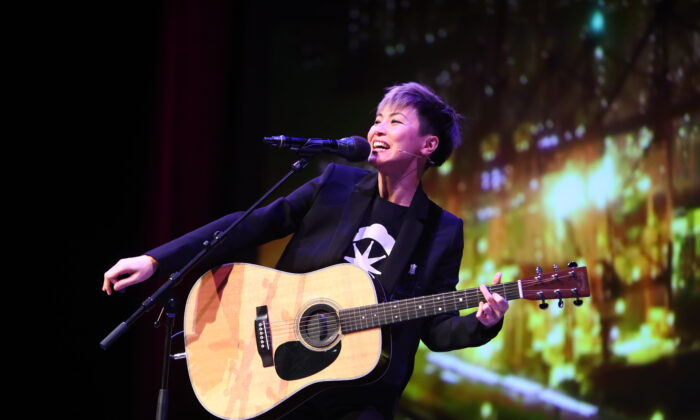 Hong Kong-based singer Denise Ho performs on stage during the Oslo Freedom Forum in Oslo on May 27, 2019. (Ryan Kelly/AFP/Getty Images)