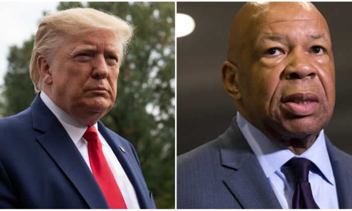 (L) U.S. President Donald Trump speaks to the press before departing the White House in Washington, DC, on Oct. 25, 2019, for South Carolina. (Nicholas Kamm/AFP via Getty Images)
