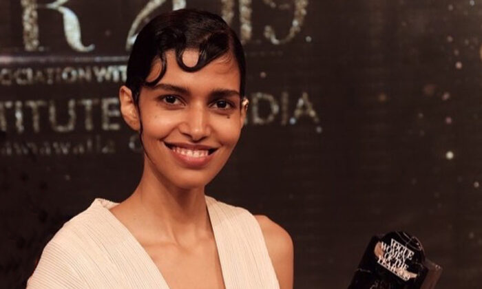"""New York based model, Pooja Mor received the """"Young Achiever of The Year"""" award at Vogue Women Of The Year 2019 on Oct. 19, 2019 in Mumbai, India. (Photo courtesy of Hemang Shah (hs.shoot))"""