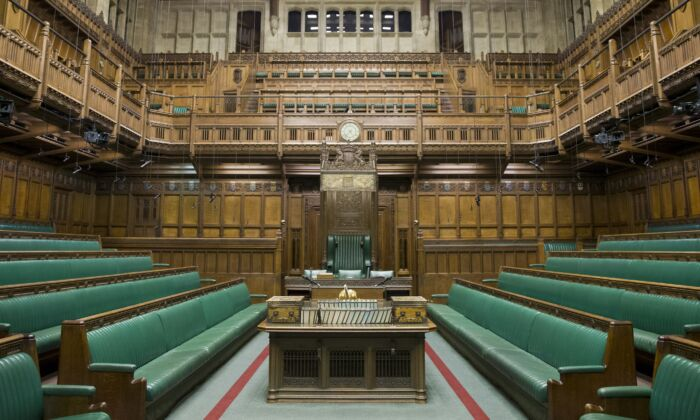 The interior of the Commons Chamber at the Houses of Parliament in central London on Nov. 12, 2015. (JUSTIN TALLIS/AFP/Getty Images)