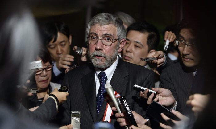 Economist and Nobel-prize winner Paul Krugman speaks with journalists after meeting Japanese Prime Minister Shinzo Abe in Tokyo, Japan, on March 22, 2016. (Franck Robichon/AFP/Getty Images)