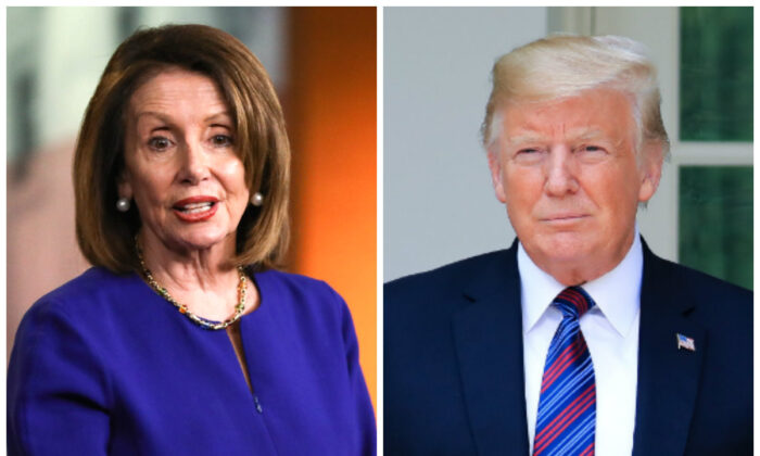 House Speaker Nancy Pelosi (L) and President Donald Trump. (Samira Bouaou and Charlotte Cuthbertson/The Epoch Times)