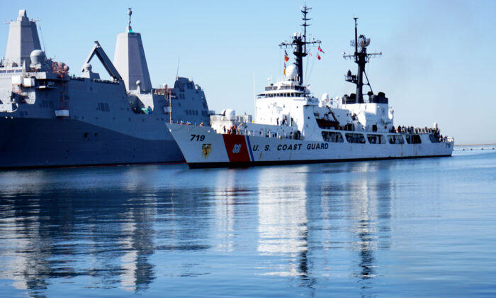 The Coast Guard's USS Boutwell comes into port in San Diego, Calif., on April 16, 2015. (Sandy Huffaker/Getty Images)