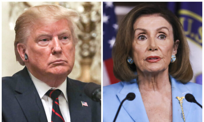 President Donald Trump and Speaker of the House Nancy Pelosi in file photographs. (Charlotte Cuthbertson/The Epoch Times)