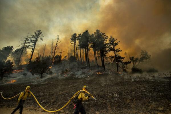 A hillside smolders as firefighters light backfires