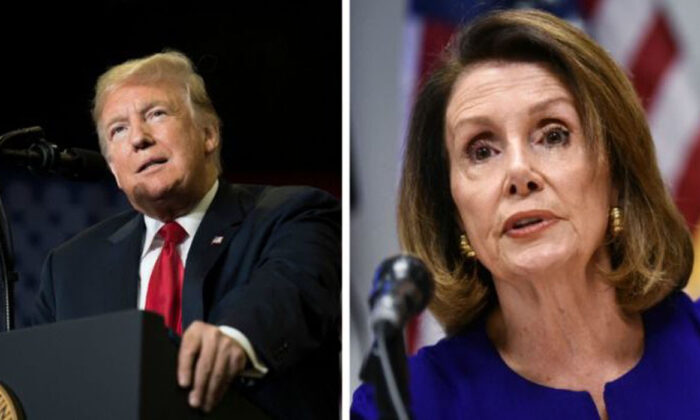 President Donald Trump speaks at a Make America Great Again rally in Cape Girardeau, Missouri, on Nov. 5, 2018. Right: Nancy Pelosi (Jim Watson/AFP; Mandel Ngan/AFP/Getty Images)