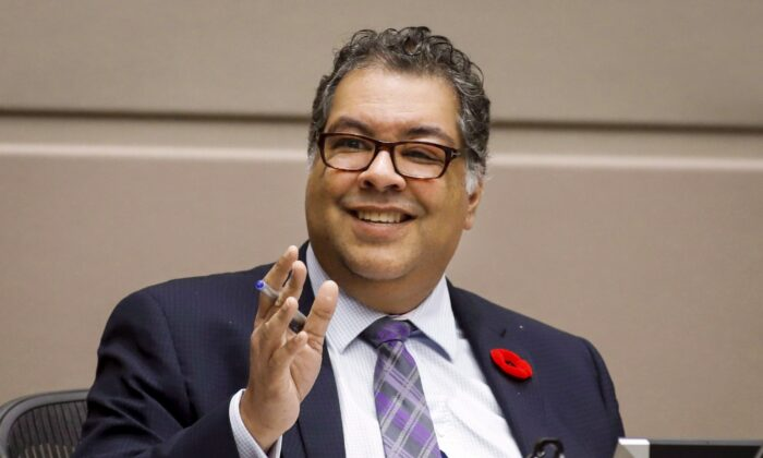 "Mayor Naheed Nenshi speaks to Calgary City council members in Calgary, Alta., on Oct. 31, 2018. Nenshi says speculation about him being appointed as a representative or adviser for Alberta in federal cabinet is ""silly,"" but adds he is willing to help bridge the divide between western Canada and the federal government. (THE CANADIAN PRESS/Jeff McIntosh)"