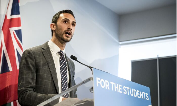 Ontario Minister of Education Stephen Lecce speaks at a press conference in Toronto on Aug. 22, 2019. (THE CANADIAN PRESS/Christopher Katsarov)