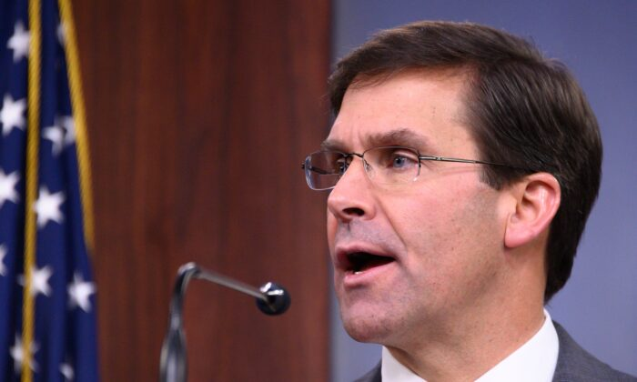 U.S. Defense Secretary Mark Esper speaks during a press briefing at the Pentagon in Washington, DC, on Aug. 28, 2019. (Jim Watson/AFP/Getty Images)
