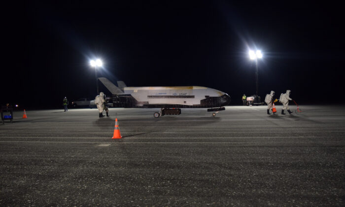 The Air Force's X-37B Orbital Test Vehicle Mission 5 is seen after landing at NASA's Kennedy Space Center Shuttle Landing Facility, Florida, on Oct. 27, 2019. (U.S. Air Force/Handout via Reuters)