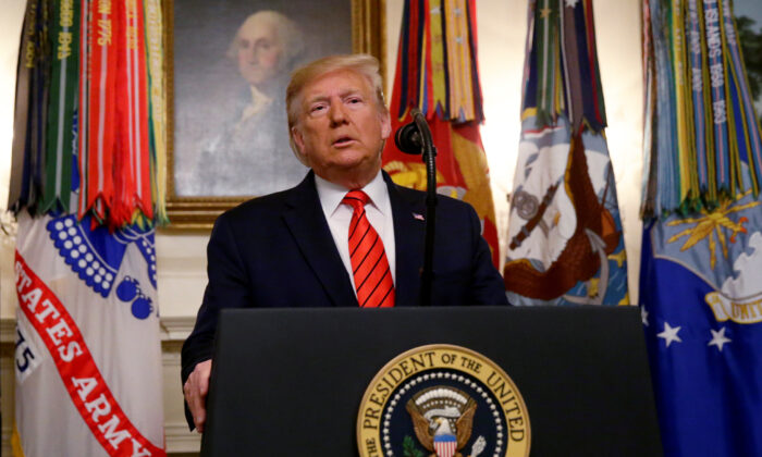 President Donald Trump makes a statement at the White House following reports that U.S. forces attacked Islamic State leader Abu Bakr al-Baghdadi in northern Syria, in Washington, on Oct. 27, 2019. (Jim Bourg/Reuters)