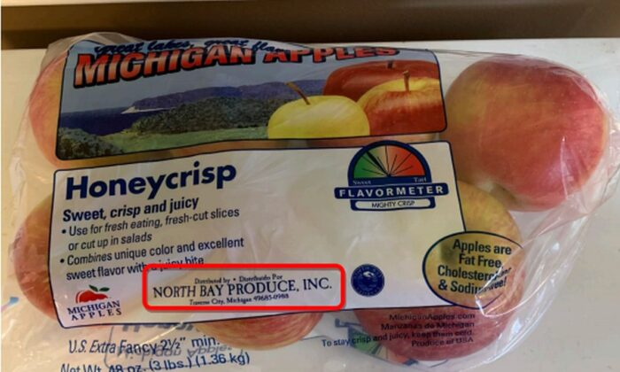 North Bay Produce issued a voluntary recall of Honeycrisp, Fuji, Jonamac, Jonathan, McIntosh, and Red Delicious apples sold between Oct. 16 and Oct. 21. They were sold in two-pound or three-pound bags and in 600-pound bins, according to a press release from the firm. (North Bay Produce)