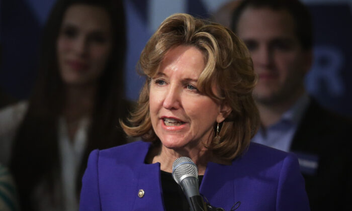 Sen. Kay Hagan (D-N.C.) concedes as she speaks to supporters during her election night party in Greensboro, North Carolina on Nov. 4, 2014. (Photo by Alex Wong/Getty Images)