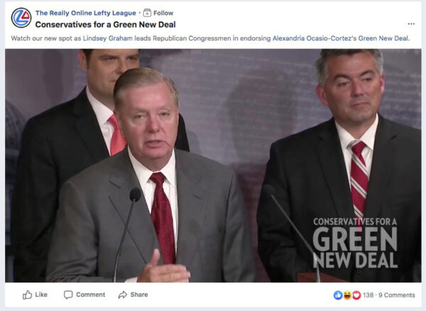 FILE PHOTO: A screengrab from a video shows U.S. Senator Lindsey Graham (R-SC) appearing in a Facebook ad run by a PAC called The Really Online Lefty League, which falsely claims that he supports the Green New Deal, in order to draw attention to issues around Facebook ad policies, Oct. 25, 2019. (The Really Online Lefty League/Facebook via Reuters)