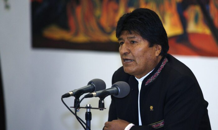 President of Bolivia and Presidential candidate for MAS Evo Morales speaks during a press conference in La Paz, Bolivia, on Oct. 23, 2019. (Javier Mamani/Getty Images)
