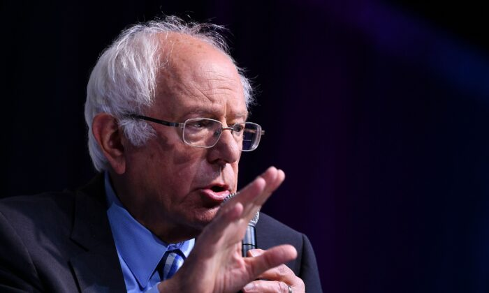 Democratic presidential candidate Sen. Bernie Sanders (I-Vt.) speaks during the 2019 J Street National Conference at the Walter E. Washington Convention Center in Washington on Oct. 28, 2019. (Mandel Ngan/AFP via Getty Images)