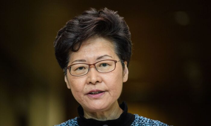 Hong Kong leader Carrie Lam speaks to the media during a press conference at the government headquarters in Hong Kong on Oct. 29, 2019. (Anthony Wallace/AFP via Getty Images)