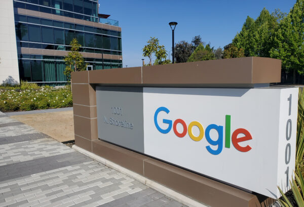 A sign is pictured outs a Google