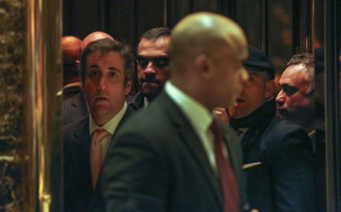 Los Angeles venture capitalist Imaad Zuberi, far right, stands in an elevator