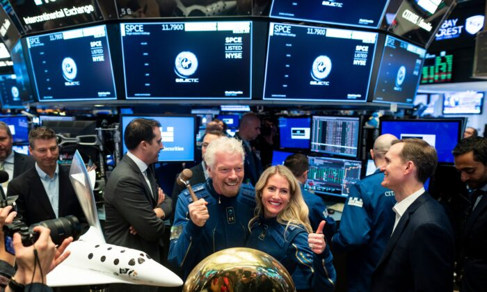 Richard Branson, Founder of Virgin Galactic poses before ringing the First Trade Bell to commemorate the company's first day of trading on the New York Stock Exchange (NYSE) in New York City on Oct. 28, 2019. (Johannes Eisele/AFP via Getty Images)