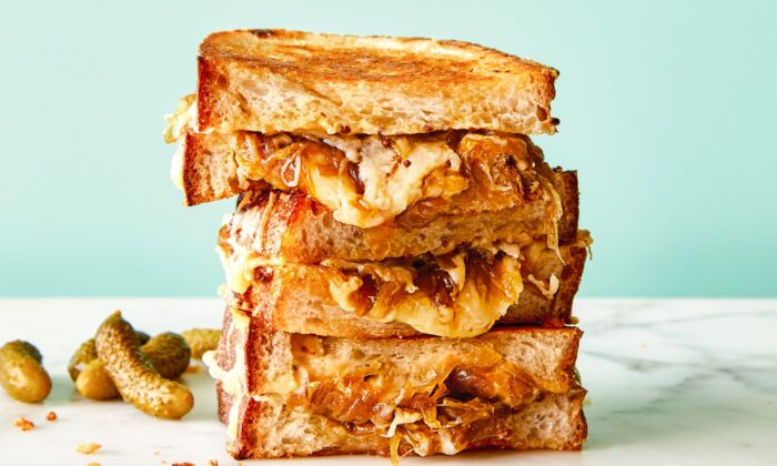 Caramelized onion grilled cheese with miso butter. (Kate Sears)