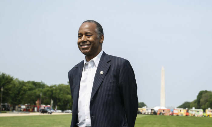 Secretary of Housing and Urban Development Ben Carson answers questions from the press on the National Mall in Washington on June 1, 2019. (Samira Bouaou/The Epoch Times)