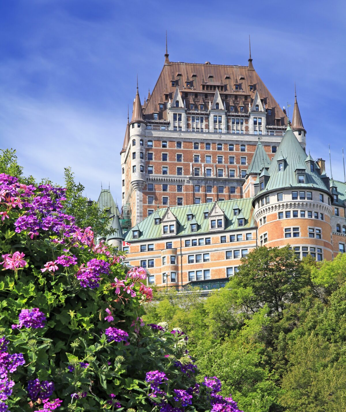 Chateau Frontenac with violet flowers