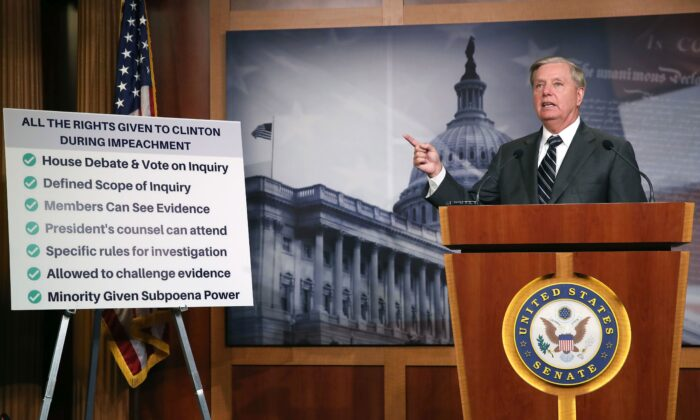 Senate Judiciary Committee Chairman Lindsey Graham (R-S.C.), talks about the Clinton impeachment while introducing a resolution condemning House Impeachment inquiry against President Donald Trump, at the U.S. Capitol on Oct. 24, 2019. (Mark Wilson/Getty Images)