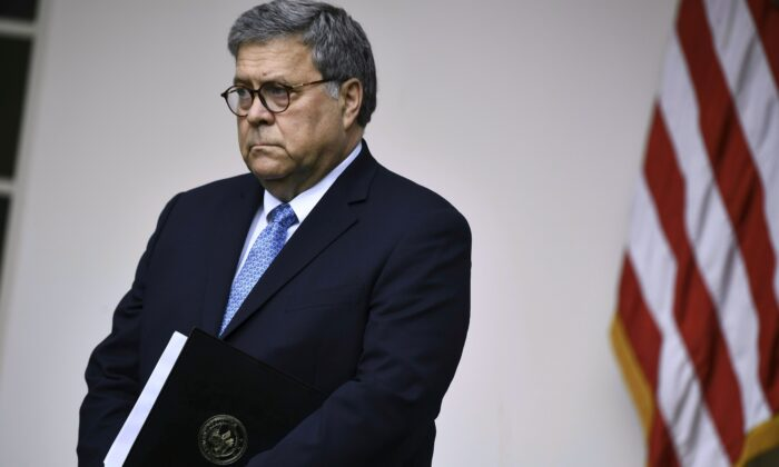 Attorney General William Barr in the Rose Garden at the White House on July 11, 2019. (BRENDAN SMIALOWSKI/AFP/Getty Images)