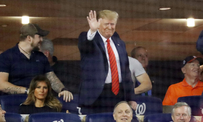 President Donald Trump attends Game Five of the 2019 World Series between the Houston Astros and the Washington Nationals at Nationals Park on October 27, 2019 in Washington, DC.  Rob Carr/Getty Images