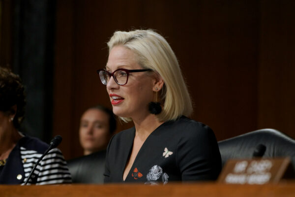 U.S. Senator Kyrsten Sinema speaks at the at the hearing on Type 1 Diabetes at the Dirksen Senate Office Building on July 10, 2019 in Washington, DC. (Jemal Countess/Getty Images for JDRF)